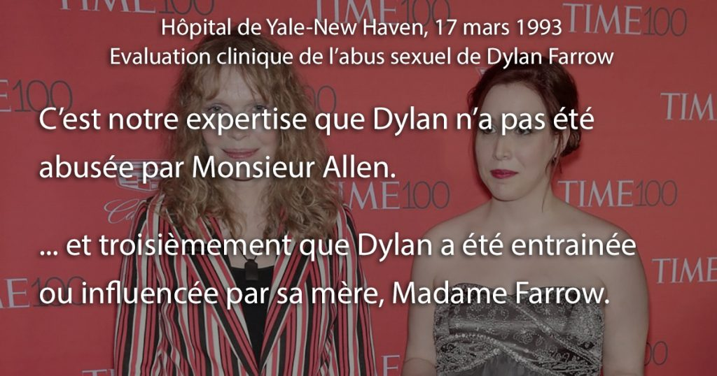 Dylan Farrow: Le report du Yale-Hôpital de New Haven innocente Woody Allen
