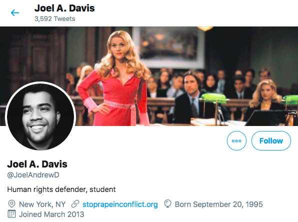Compte Twitter de Joel Davis