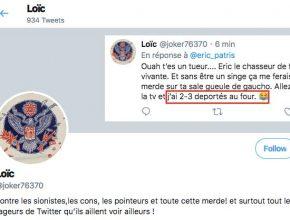 Profile du compte Twitter de @joker76370 qui multiplie les calomnies contre Woody Allen et soutient le négationniste Hervé Ryssen.